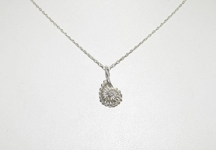 Tested Sterling Dainty Etched Shell Necklace