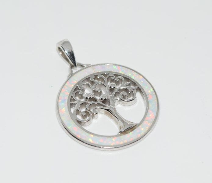 Sterling Silver Opal Tree of Life Pendant