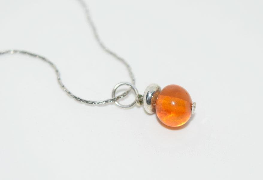 Sterling Simple Amber Nugget Necklace