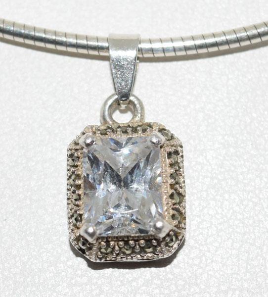 Sterling Silver Marcasite Framed Necklace