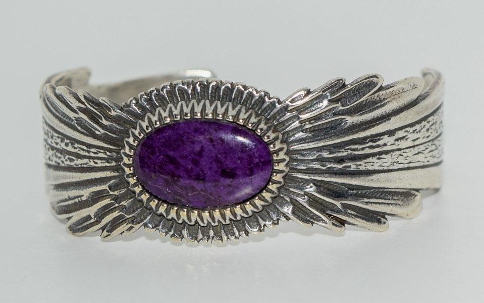 Sterling Native 10-15CT Natural Sugilite Cuff Bracelet