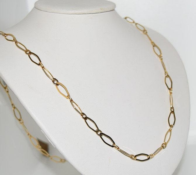 Gold over Sterling 29inch Oval Link Necklace