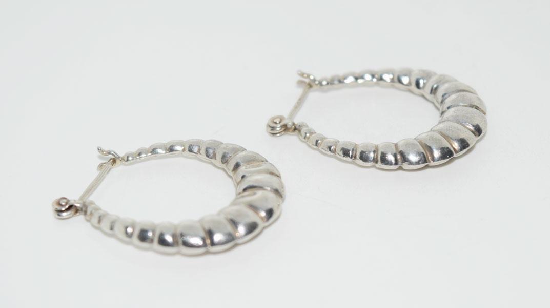 Sterling Worn Classic Design Puff Hoop Earrings