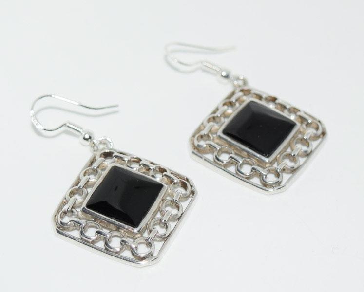 Sterling Framed Onyx Dangle Earrings