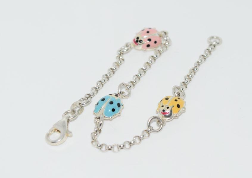 Sterling Enamel 7inch Lady Bug Link Bracelet