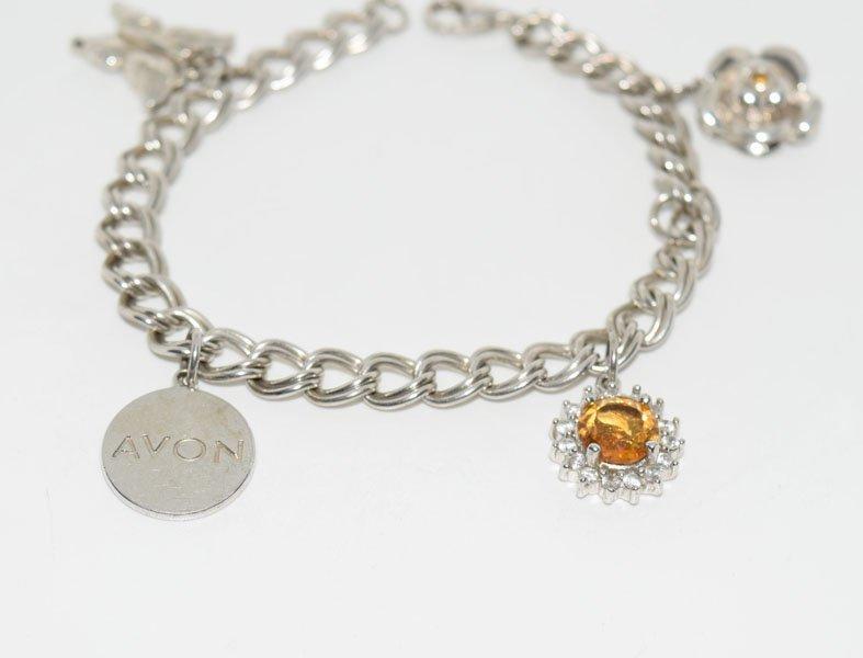 Avon Sterling Citrine Accent Charm Bracelet