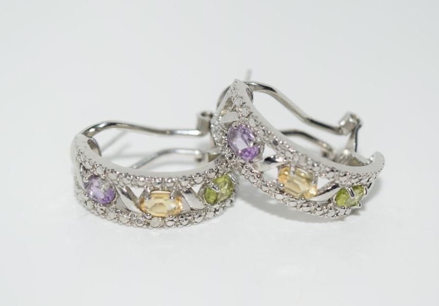 Sterling Silver Gemstone Half Hoop Earrings