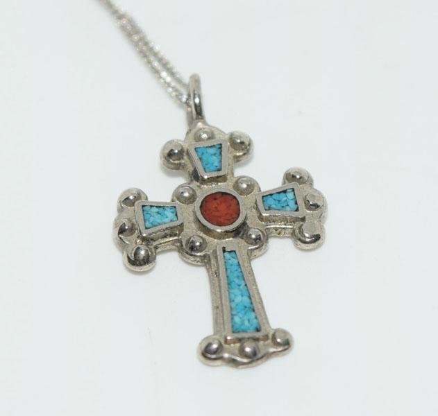 Sterling Crushed Coral & Turquoise Cross Necklace