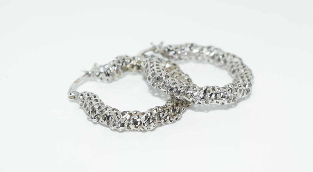 Sterling Silver Mesh Hoop Earrings