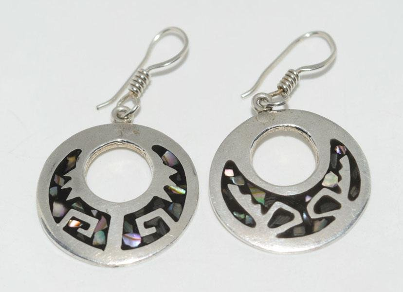 Mexico Sterling Abalone Inlaid Hook Earrings