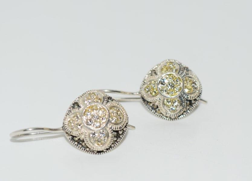 Sterling Silver Marcasite Flower Design Earrings