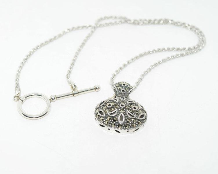 Sterling Marcasite Toggle Necklace