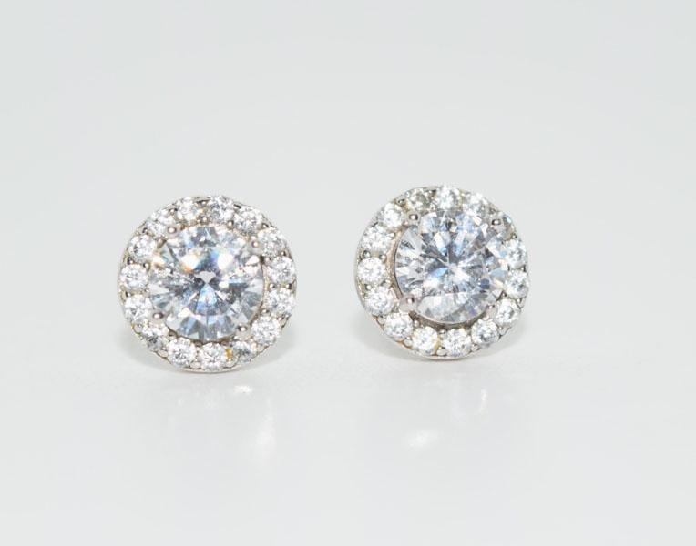 Sterling Silver Sparkling Halo Post Earrings