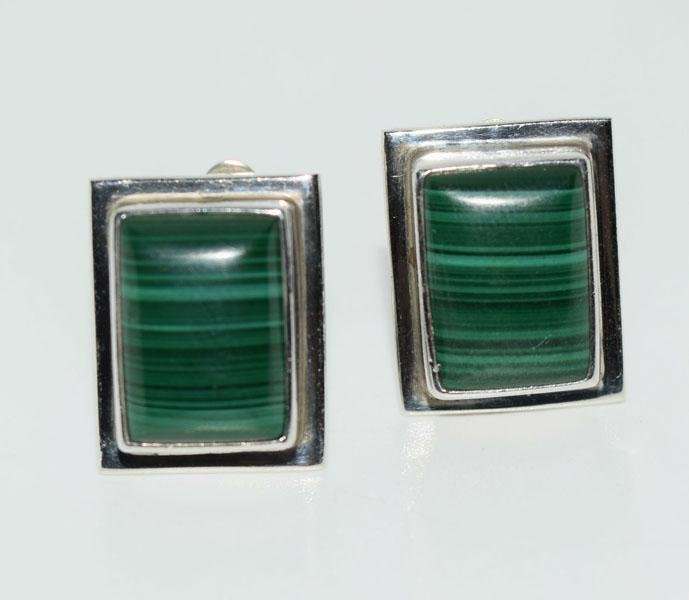 Mexico Sterling Malachite Rectangle Post Earrings
