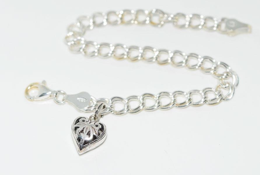 Sterling Cut out Heart Charm Bracelet