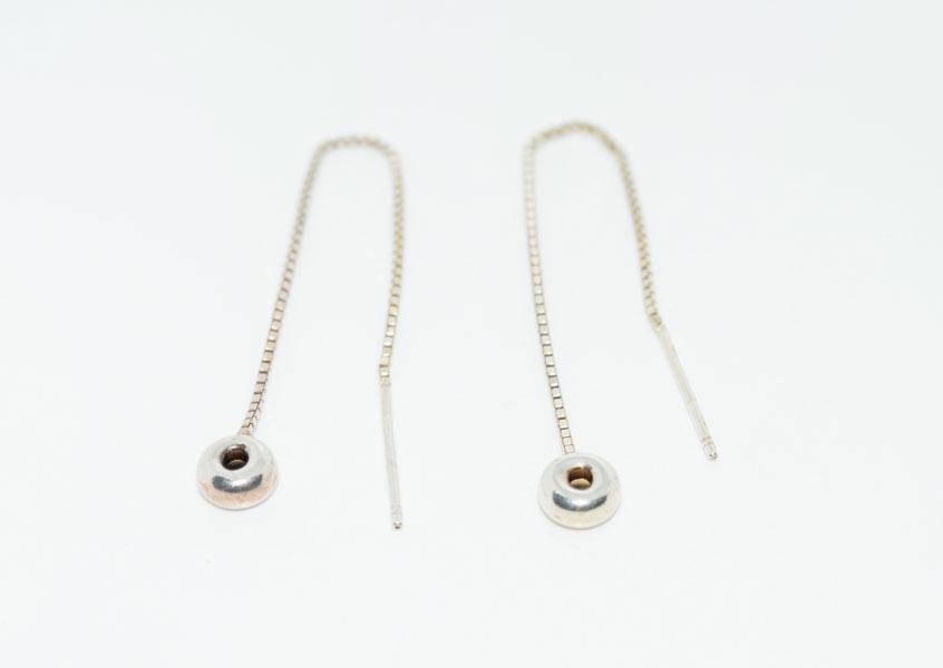 Sterling Tread Through Bead Drop Earrings