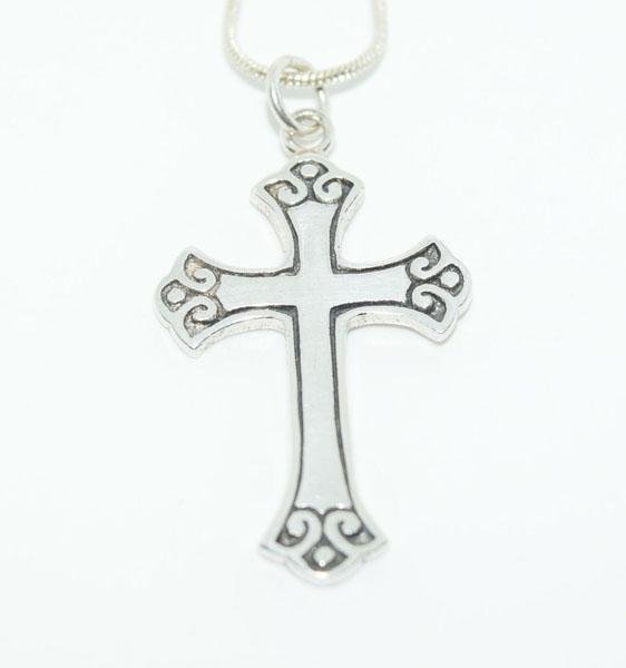 Sterling Silver Scroll Cross Necklace