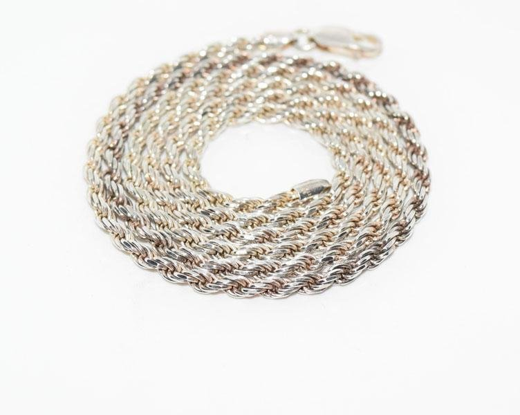 Heavy 24inch Italy Sterling Rope Chain