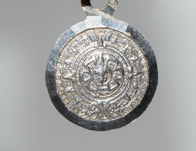 950 Mexico Sterling Mayan Medallion Pendant