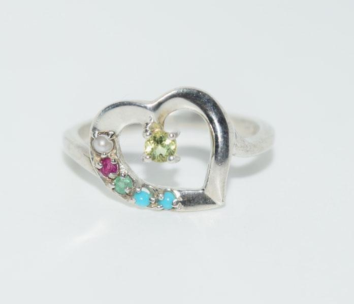 Sterling Lenox Genuine Gemstone Sz8 Heart Ring