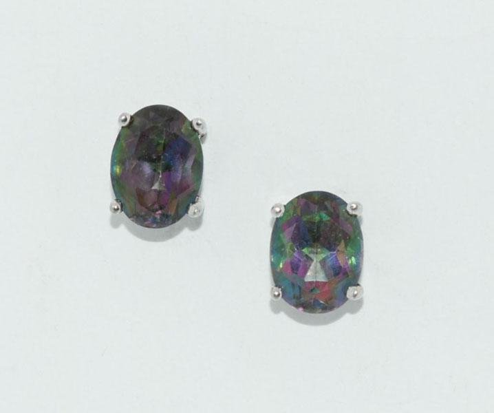 Sterling Large Iridescent Oval Cut Post Earrings