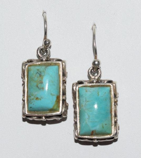 Sterling 10-12CT Natural Turquoise Earrings