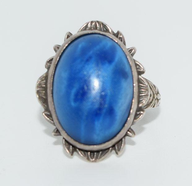 Vintage Sterling 10-15CT Natural Pectolite Ring Sz5