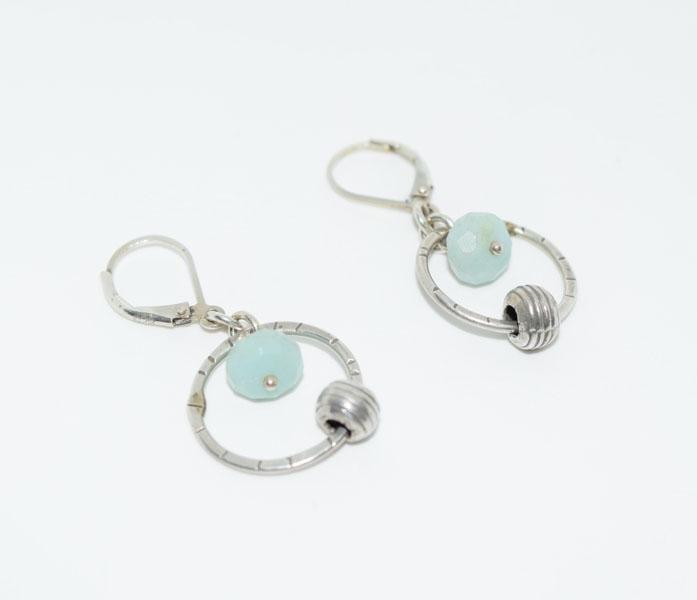 Sterling Circle & Quartz Dangle Earrings