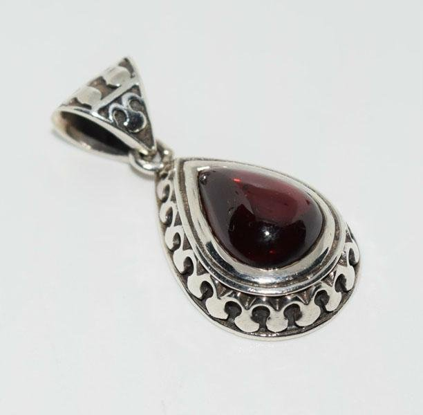Sterling Polished Teardrop Garnet Pendant