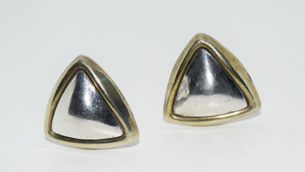 Sterling 2 Tone Large Triangle Clip on Earrings