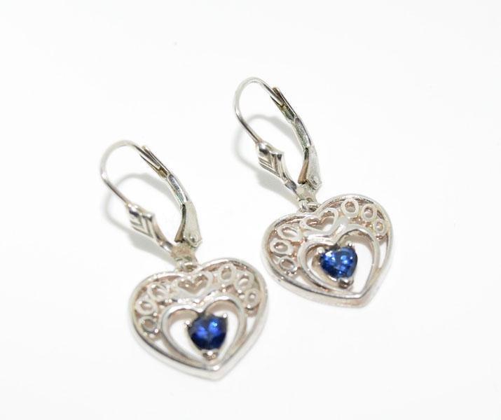 Sterling Silver Cut out Dangle Heart Earrings