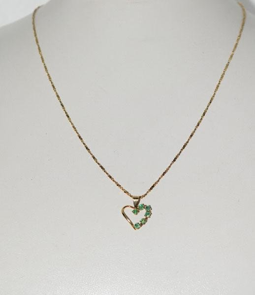 Gold over Sterling Emerald Heart Necklace