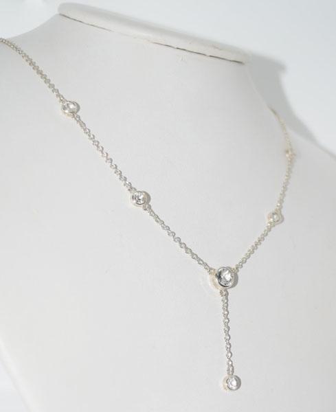 Sterling IBB White Topaz Lariat Necklace