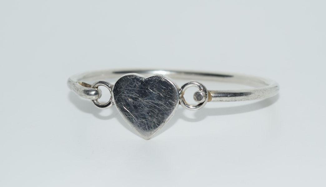 Mexico Sterling Heart Hook Eye Bangle Bracelet
