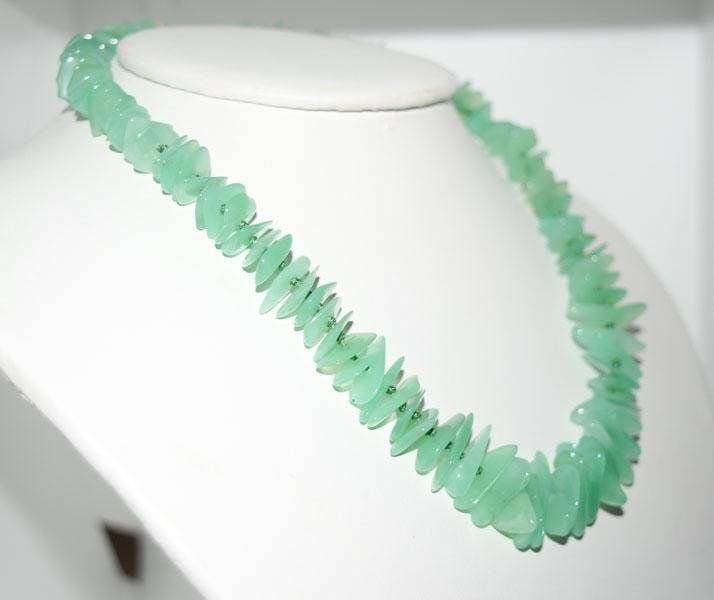 16inch Vintage Chrysoprase Nugget Strand Necklace