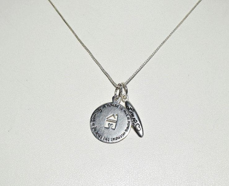 Sterling Silver Home Quote Charm Necklace