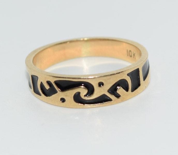 10K Gold Enamel Design Sz5 Ring