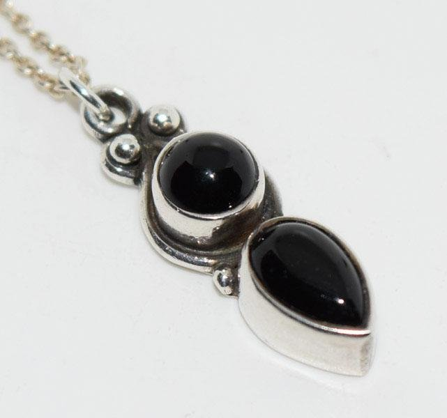 15.5inch Sterling & Onyx Drop Necklace