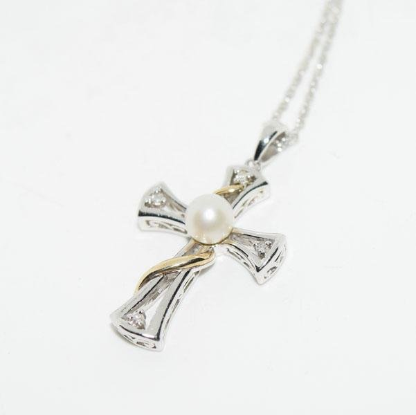 Sterling Diamond & Pearl Cross Necklace
