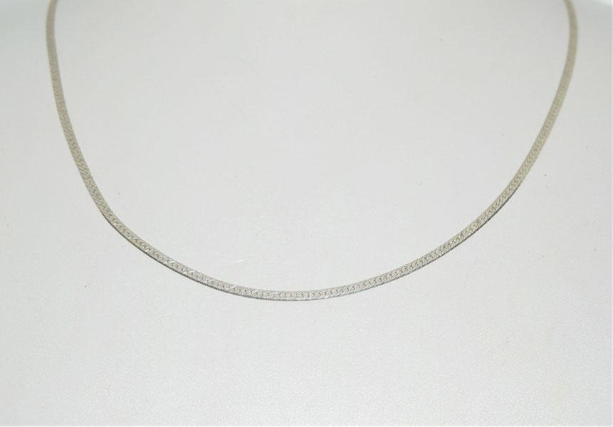 Sterling 2mm 18inch Etched Herringbone Necklace
