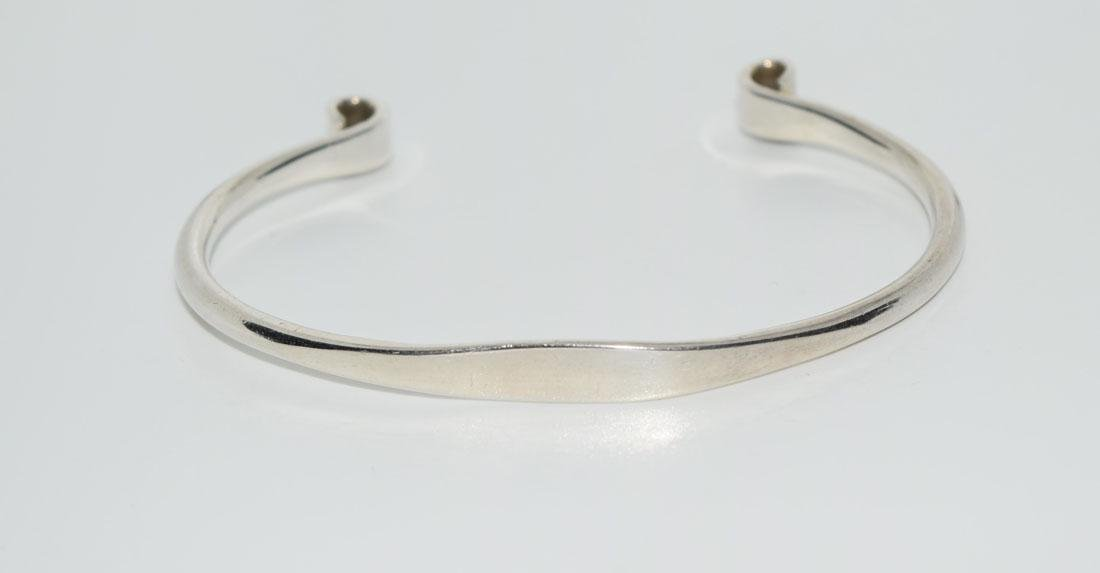 Heavy Sterling Silver Scroll End Cuff Bracelet