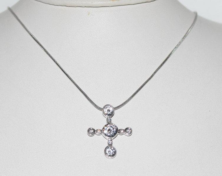 Sterling Silver Sparkling Cross Necklace