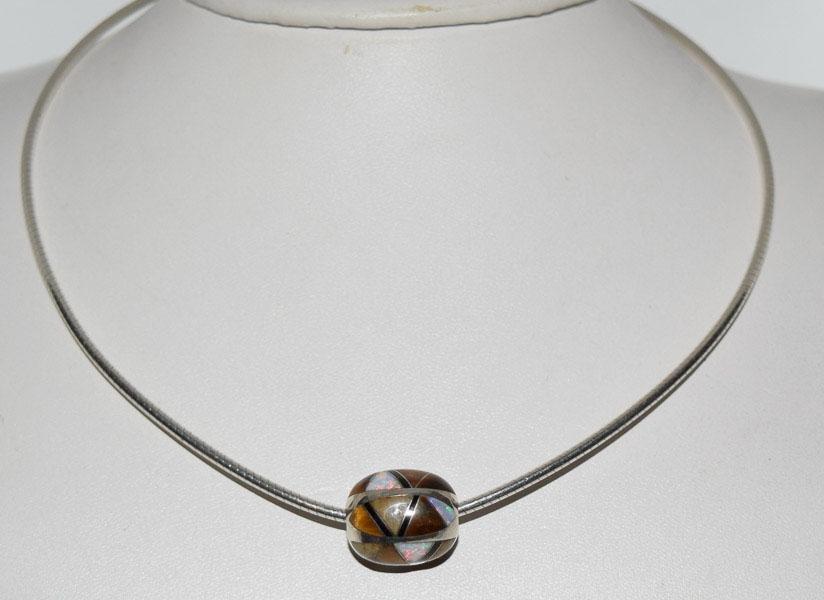 Sterling Opal Tigers Eye & Onyx Bead Necklace