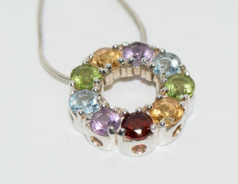 Sterling Genuine Gemstone Wreath Necklace