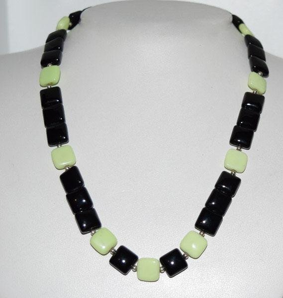Sterling Onyx & Chalcedony 100CT Beaded Necklace