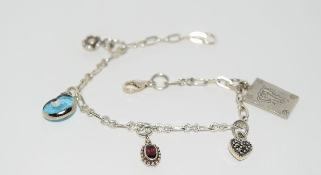Sterling Silver Amethyst Dainty Charm Bracelet