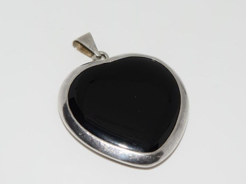 Heavy Onyx Sterling Silver Large Heart Pendant