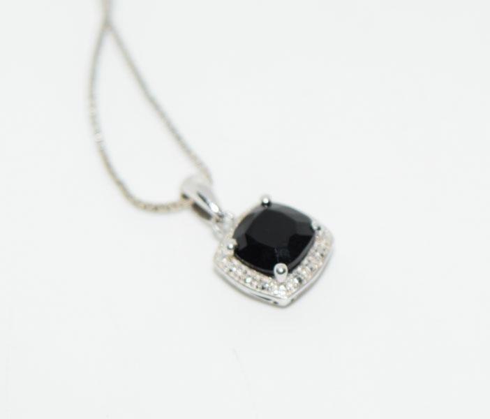 Sterling Black Tourmaline Necklace