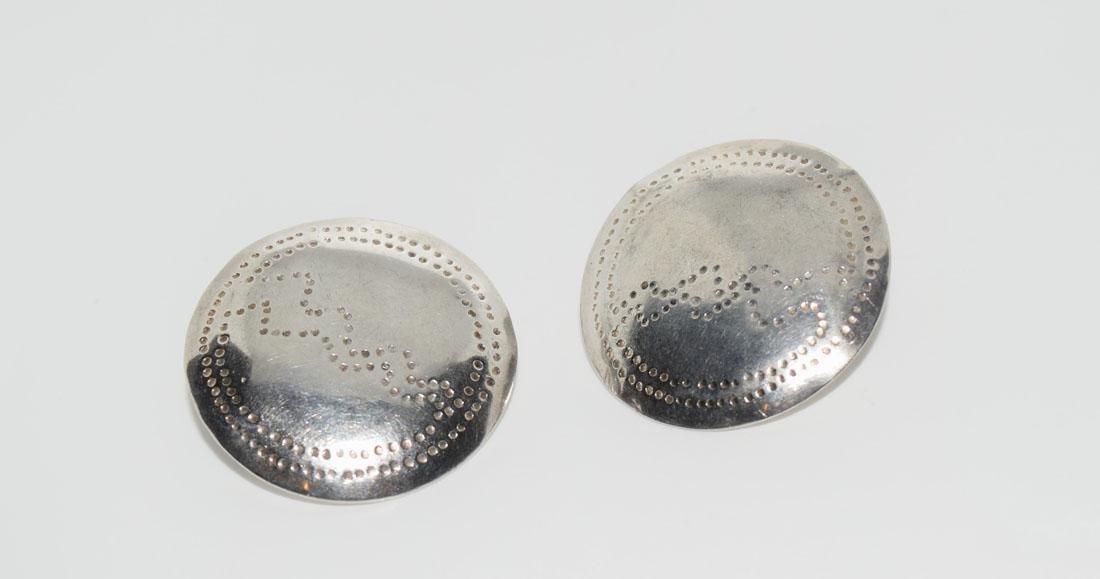 Vintage Sterling Dot Design Sheet Silver Earrings