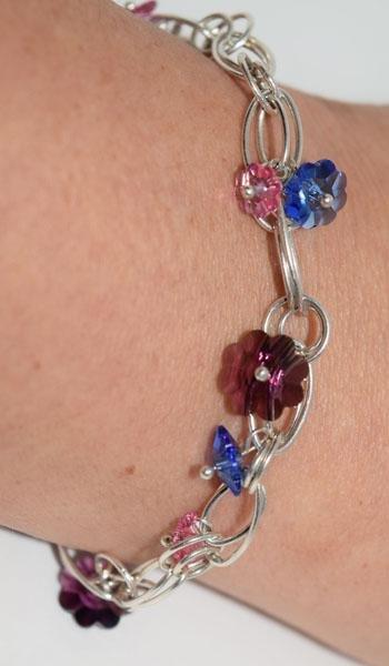 India Sterling Glass Flower Charm Bracelet